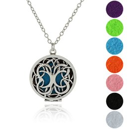 Wholesale Tree Pendants Antique - 2017 NEW Aromatherapy Necklaces+7colors Pads Antique Silver Bronze Censer Tree Of Life Jewelry Essential Oil Diffuser Locket Necklaces