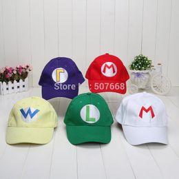 Wholesale Luigi Plush Hat - Wholesale- Super Mario Bros Baseball Hat Caps Red Blue Purple Yellow White Mario Luigi Hats 5 colors plush toys