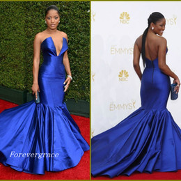 Wholesale Emmy Awards V Neck Ruffle - 2017 Keke Palmer Emmy Awards Red Carpet Celebrity Evening Dress Royal Blue Sweep Train Long Formal Party Gown Custom Made Plus Size