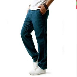 Wholesale Flax Pants - Wholesale- Brand New Summer Linen Casual Pants Men Solid Thin Breathable Joggers Sweatpants Flax Cotton Big Size M-XXXXL Straight Trousers