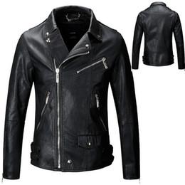Wholesale Mens Synthetic Leather Jacket - Mens PU Leather Jacket Fashion Brand Design Casual Slim Biker Motorcycle Veste De Cuir Pour Homme