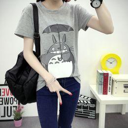 Wholesale Funny Graphic Shirts - Wholesale-Japanese Anime Totoro cute Print T Shirt Women 2016 Short Sleeve Emoji Funny cartoon T-shirts Graphic Tees Tops Female Tshirt