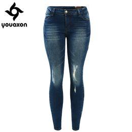 Wholesale Vintage Skinny Ties - Wholesale- 1895 Youaxon Women`s Fashion 5 Pockets Ultra Stretch True Denim Trousers Woman Pencil Jean Pants Skinny Ripped Jeans For Women