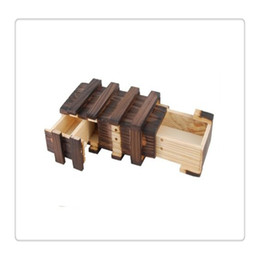 Wholesale Puzzles Tricks - High Quality Magic Puzzle Boxes Wooden Box with Extra Secure Secret Drawer Intelligence Toys Brown Puzzle Wooden Secret Trick Play For Fun