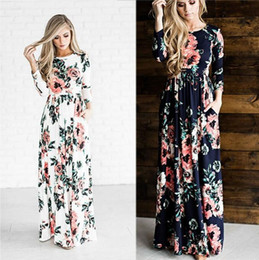 Wholesale Black Casual Skirts - Women's Fashion Spring 3 4 Sleeve Classic Rose Maxi Dresses Long Sleeve Skirt Casual Dresses Multicolor Plus Size 3XL