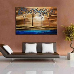 Wholesale Hand Made Landscape - Hand Painted Trees Paintings Modern Abstract Home Decor Wall Art Picture Hand Made Landscape Oil Painting