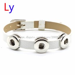 Wholesale VOCHENG NOOSA Pin buckle white Leather Bracelet Interchangeable mm Ginger Snap Charm Bracelet Popper Jewelry NR0162
