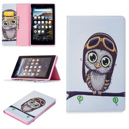 Wholesale Owl Tablet Cases - For Fire Kindle 2017 Smart Tablet Case Cover Stand Fashion Tablet Designer PU Leather Cover night owl Pattern