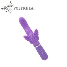 Wholesale Powerful Clit Vibrator - Sex Products Butterfly Up And Down Thrusting Vibrator 30 Frequency Silicone Vibrating Penis With Powerful Clit Vibrator Sex Products