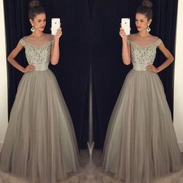 Wholesale Pageant Dresses For Women Short - Gray Evening Dresses For Women Illusion Scoop Neck Tulle Cap Sleeve Crystal Beaded Floor Length Formal Pageant Party Dresses 2017 Prom Dress