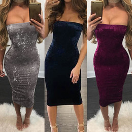 Wholesale Night Dresses Wholesalers - Bodycon Dress Pullover Velvet Wrap Chest Purple Tight Dress Strapless Solid Color Slim Sexy Night Club Dresses
