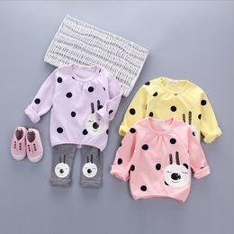 Wholesale Light Purple Leggings - Children Girl Spring Clothing Dress 2pcs Suit Cartoon Bear Sweatshirts + Leggings Girl Sets Kids Casual Pants Set Q0738