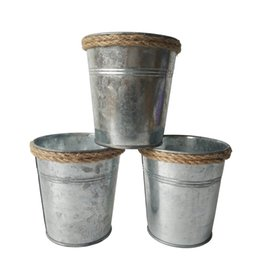 Wholesale Tin Plant Pot Wholesale - F ree shipping D10.5*H11CM Wholesale Metal Planter garden bucket tin box Iron pots Flower pot Silvery Planter