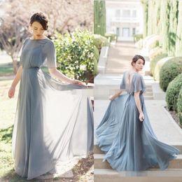 billige fee brautkleider Rabatt Fee 2019 New Long Grey Chiffon Backless Brautjungfernkleider Günstige Kurzarm bodenlangen Trauzeugin Hochzeit Kleid