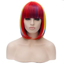 Wholesale Straight Rainbow Wigs - Short Rainbow Straight Women Bob Wigs Heat Resistant Cosplay Party Costume Synthetic Hair Colorful 12""