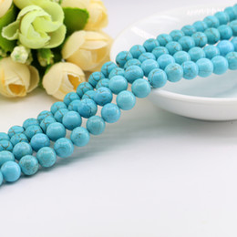 Wholesale Turquoise Blue Gemstone - All Size Green Round Turquoise Howlite Beads For DIY Jewelry Making Gemstone 4 6 8 10 12mm