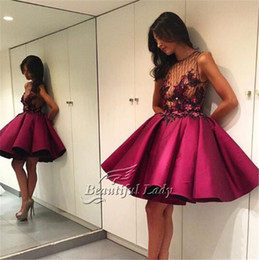 Wholesale Short Puffy Purple Prom Dresses - Burgundy Short Prom Dresses See Through Beaded Satin Puffy Sexy Arabic Prom Party Gowns 2017 Custom Made Women Little Prom Dress