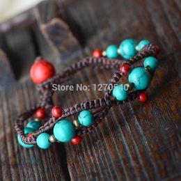 Wholesale Chinese Tibetan Jewelry - Wholesale- Original handmade turquoise ethnic jewelry bracelet,fashion chinese wind new thailan jewelry vintage tibetan bracelet