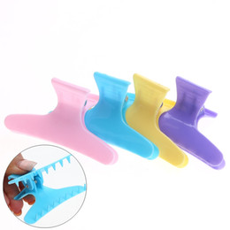 Wholesale Colorful Hair Claws - 100pcs pack colorful Butterfly Hairdressing Hairdressers Hair Section Clamps Clips Claw Hair Salon Styling Tools Accessories