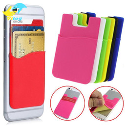Wholesale Grass Wallets - Wholesale - Silicone Wallet Credit Card Cash Pocket Sticker Adhesive Holder Pouch Mobile Phone 3M Gadget iphone Samsung