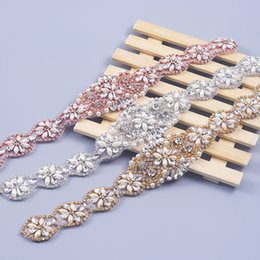 Wholesale Handmade Girls Accessories - 1PIECE Handmade Rhinestones Appliques For Wedding Sashes Rose Gold Silver Clear Crystal Beads Sewing On Bridal Wedding Accessory