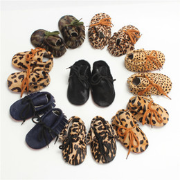 Wholesale Leopard Print Baby Shoes - Baby Moccasins Genuine Leather Horsehair Leopard Print Baby Walking Shoes Soft Sole Multi Colors Infant Toddler High Quality LLG