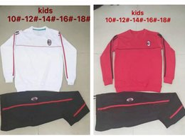 Wholesale Boys Sweat Pants Xl - AAA+ Quality 2017 2018 AC Milan KIDS Soccer training suit sweat pants survetement 17 18 AC Milan Sweater kids Tracksuit Set Training Suit