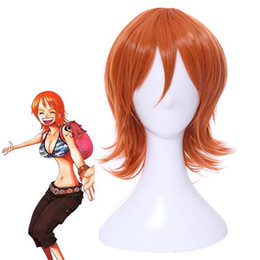 Wholesale Cosplay Orange Hair - Short Hairstyles Wig Cosplay Orange Color Synthetic Fake Hair High Temperature Fiber