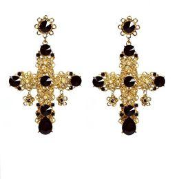 Wholesale Cross Culture - Vintage Baroque Filigree Byzantine Black Cross Earrings Culture White Pearl Tiny Gold Flowers Stone Deco Drop Dangle Earrings