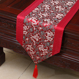 Wholesale Long Silk Table Runners - 120inch Extra Long Dragon Patchwork Table Runner High End Chinese style Silk Brocade Dining Table Cloth Protective Pads Placemat 300x33 cm