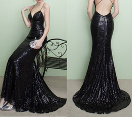 Wholesale Long Black Sequin Dresses - Black Sequins Spaghetti Straps Mermaid Prom Dresses 2017 Cheap Plus Size Backless Long Prom Party Gowns