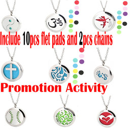 Wholesale Christmas Tree Chain - 30mm Taiji Ocean Tree Muisc Aromatherapy Stainless Steel Essential Oil Diffuser pendant locket Necklace with 10pcs Refill Pads &2pcs chain