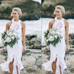 Wholesale High Collar Wedding Gowns - Beach Wedding Dresses 2017 White Lace Summer Sleeveless Bridal Gowns Slit Mermaid Seaside Simple Cheap Dress For Brides Custom Made