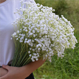 Wholesale White Gypsophila Flowers - 60cm Gypsophila Babys Breath Artificial Fake Silk Flowers Plant Home Wedding Decoration 3Color White Beige Purple