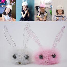 Kaninchenhaargarn online-Kinder Kaninchen Haarband Kinder Haar Stick Prinzessin Haarband Mädchen Stirnband Zubehör Tuck Kamm Korean Spitze Net Garn Kopfschmuck Stirnband