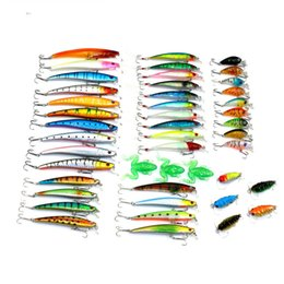 Wholesale Crankbait Sales - 45pcs lot Hard Plastic Artificial Fishing Lure Minnow Crankbait Fake Frog Cicada Lure Baits Fishing Tackle Hot Sale