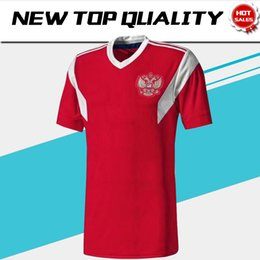 Wholesale Black Russian - 2018 world cup Russia Soccer Jerseys 2018 world cup Russian Home red Football uniform Thai Quality #10 DZAGOEV #11 SMOLOV Soccer Shirts