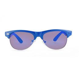 Wholesale Glasses Box Children - Brand new sunglasses for boys Round polarized sunglasses Blue children section UV400 with Glasses cloth bag box GS91-1
