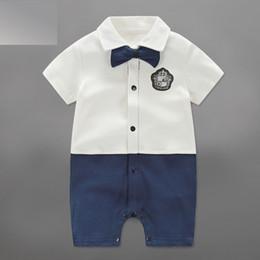 Wholesale Newborn Baby Bow Ties - Newborn Baby Boy Clothes Gentleman Cotton Short Sleeve Romper 5 Designs Summer Bow Tie Children Kids Jumpsuits
