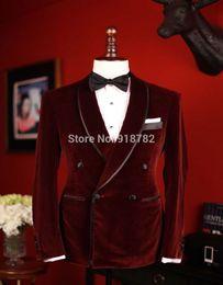 Wholesale Double Bow Ties - Wholesale- New Men Wedding Groom Velvet Dinner Jacket Double Breasted Velvet Groomsman Suit Custom Made Man Suit (jacket+pants+bow Tie)