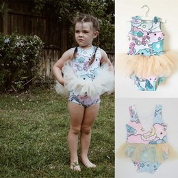 Wholesale Rainbow Tulle Skirt Kids - Baby Girls Pegasus Romper Rainbow Printed Sleeveless Bubble Skirts Summer Animal Tulle Jumpsuit Kids Backless TuTu Fashion Bodysuit