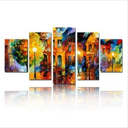 Wholesale Knife Landscape Paintings - Hand-painted Oil Painting Art Home Decor Hang Paintings Wall Decor 5 pcs set Of Pictures Landscape Knife Pictures For Living Room