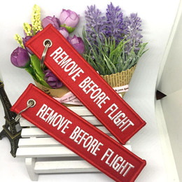 Wholesale Factory Labels - Remove Before Flight Embroidered Canvas Specil Luggage Tag Label Tourism Memorial Key chain Avoid Lost Factory Supply keychains wholesale