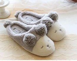 Wholesale Lovers Slippers Indoor - Wholesale-2016 Short Plush Home Slippers New Lovers Warm Comfortable Autumn And Winter Balls Squinting Single Sheep Indoor Slippers