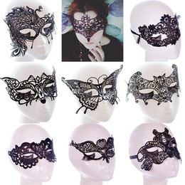 Wholesale Wholesale Eye Masks For Girls - New Sexy Lace Party Masks Women Ladies Girls Masquerade Mask Venetian Half Face Mask Christmas Cosplay Party Eye Masks WX-M07