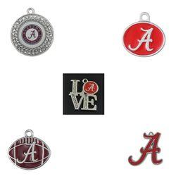 Wholesale Alabama Charms - Wholesale- 10pcs Metal enamel rhodium filled NCAA University of Alabama Crimson Tide charms jewelry