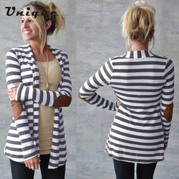 Wholesale Cardigans Women Stripes - Wholesale-2016 autumn Brand Striped Women Cardigan Long Sleeve elbow patchwork knitted stripes Cotton cardigan Thin Jumper Long women Tops