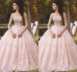 Wholesale One Shoulder Debutante Dresses - Pink Long Sleeve Prom Dresses Ball Gown Lace Appliqued Bow Sheer Neck 2017 Vintage Sweet 16 Girls Debutantes Quinceanera Dress Evening Gowns