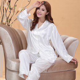 Wholesale Xs Pajama Set - Wholesale- White and Pink Silk Satin Pajama Sets For Women Sleepwear Long Pajamas tops and Pants Pyjamas Set S1