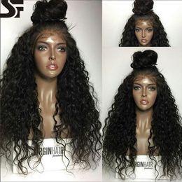 Peluca del cordón del pelo humano de SF pelucas delanteras rizadas profundas del cordón con los bollos medios Peluca llena brasileña del cordón para las mujeres negras y peluca natural pre arrancada desde fabricantes